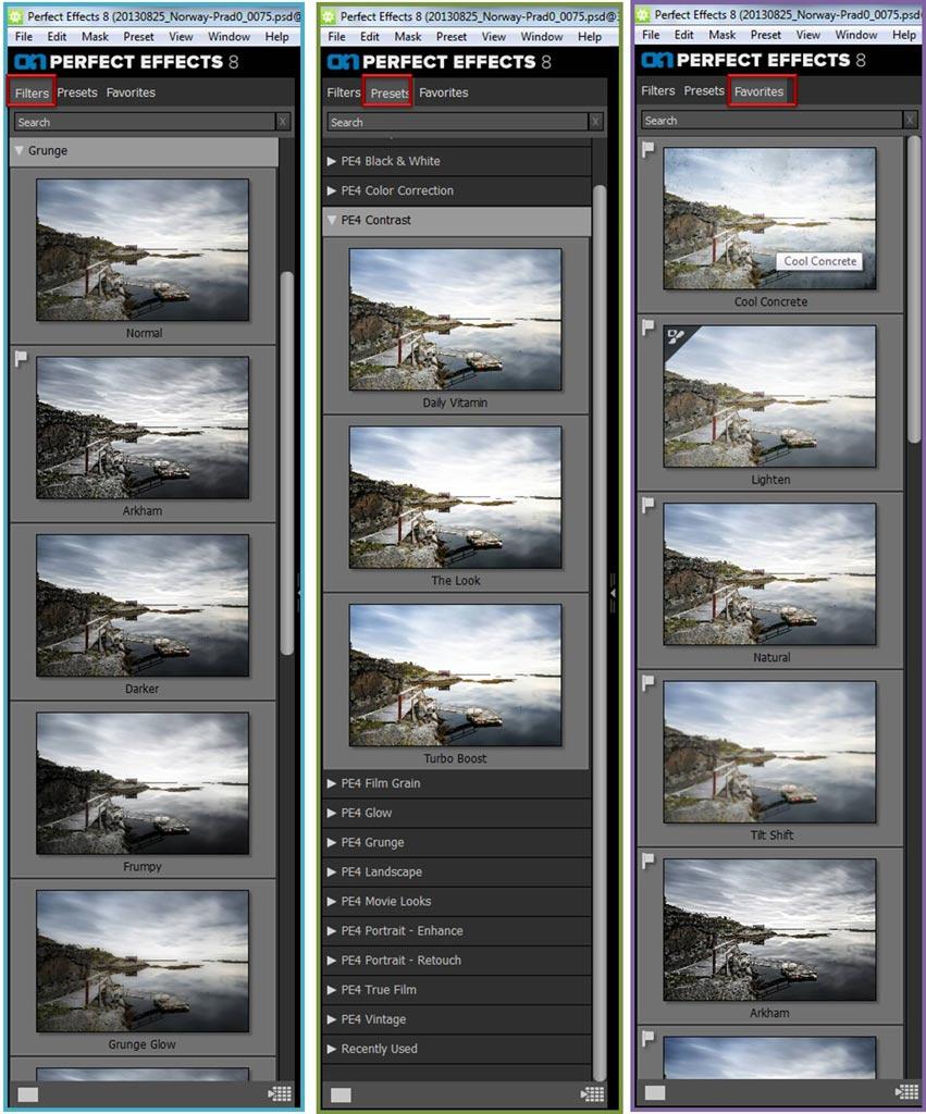 Vista de las tres pestañas del explorador de filtros de perfect effects 8