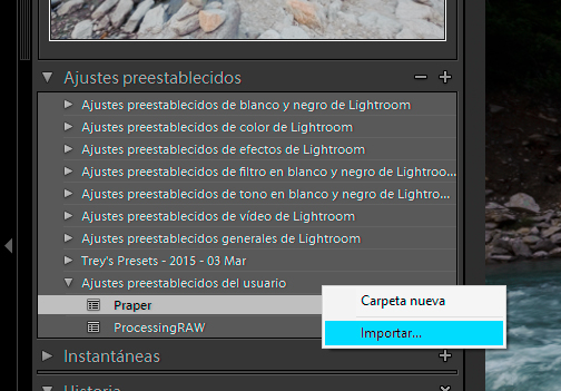 Ajustes iniciales en Lightroom