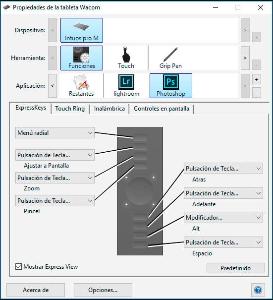 1-Configurar tableta photoshop express-keys