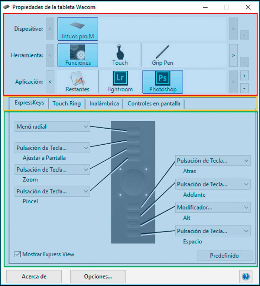 2-Configurar tableta photoshop interfaz