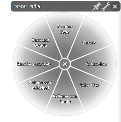 Menu radial de la tableta Wacom. Una auténtica maravilla que nos permite realizar tooodo lo que queramos. Estos son mis ajustes.