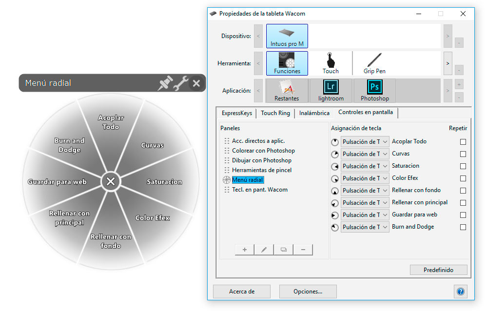 Configurar tableta photoshop menu radial