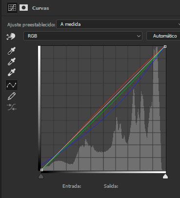 Saspecto de la interfaz de la capa de curvas en Photoshop tras haber modificado los 3 canales de manera independiente.