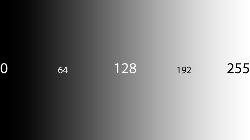 Valores tonales en una imagen de 8 bits