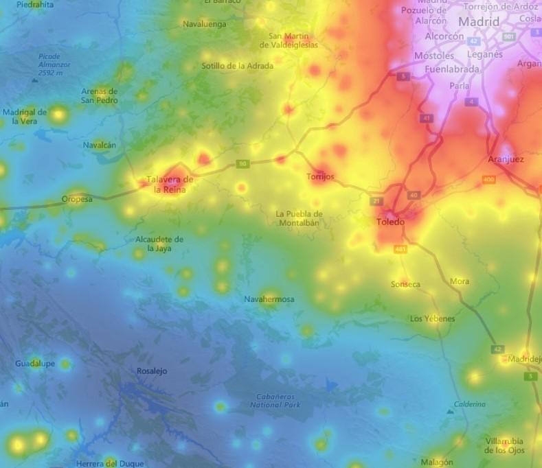 Mapa de contaminación lumínica para fotografiar el arco de la vía láctea